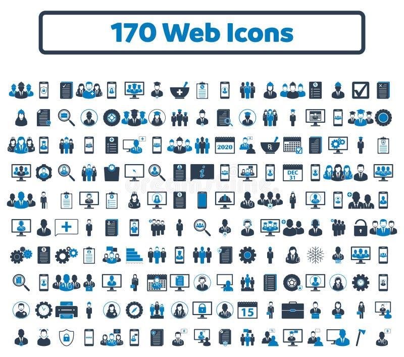 σύνολο εικονιδίων 170 Ιστού διανυσματική απεικόνιση