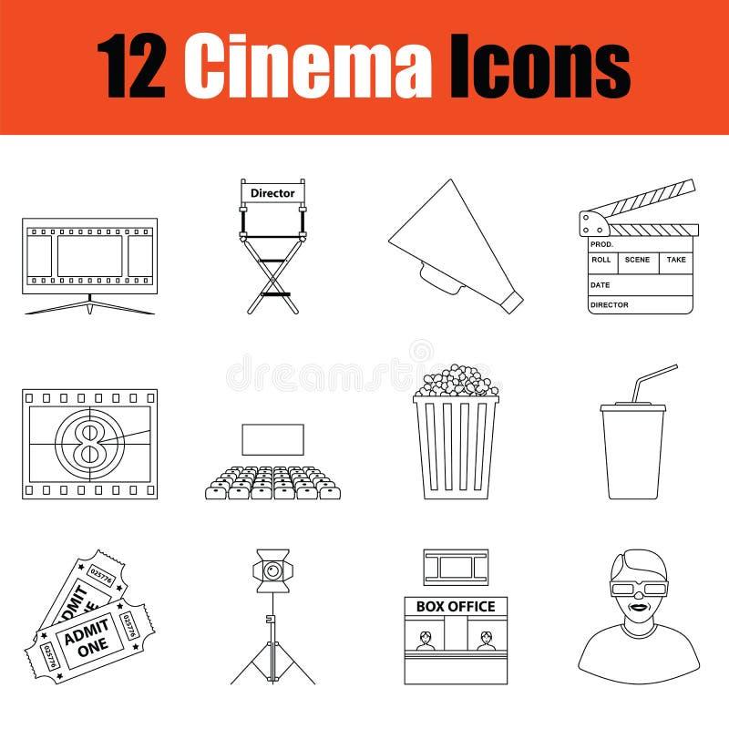 Σύνολο εικονιδίων κινηματογράφων διανυσματική απεικόνιση