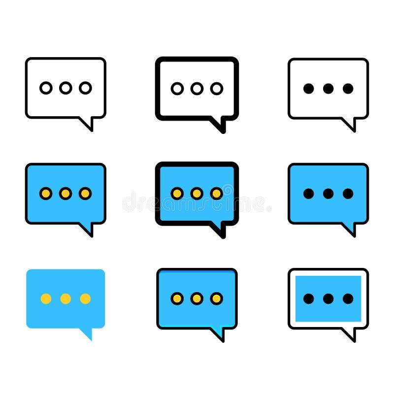 Σύνολο εικονιδίων λεκτικών φυσαλίδων Εικονίδια μηνυμάτων συνομιλίας διανυσματική απεικόνιση