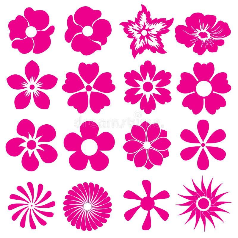 Σύνολο εικονιδίων λουλουδιών Διαφορετικός τύπος λουλουδιών επίσης corel σύρετε το διάνυσμα απεικόνισης απεικόνιση αποθεμάτων