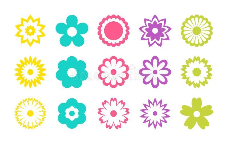 Σύνολο εικονιδίων λουλουδιών χρώματος r Αυτοκόλλητες ετικέττες και ετικέτες Ημέρα μητέρων, ημέρα των γυναικών απεικόνιση αποθεμάτων