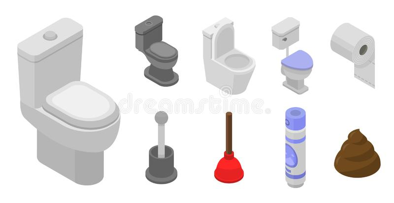Σύνολο εικονιδίων λουτρών τουαλετών, isometric ύφος ελεύθερη απεικόνιση δικαιώματος