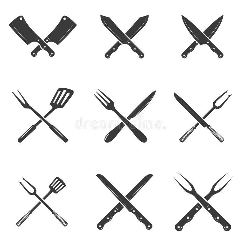 Σύνολο εικονιδίων μαχαιριών εστιατορίων Σκιαγραφία - μαχαίρια μπαλτάδων και αρχιμαγείρων ελεύθερη απεικόνιση δικαιώματος