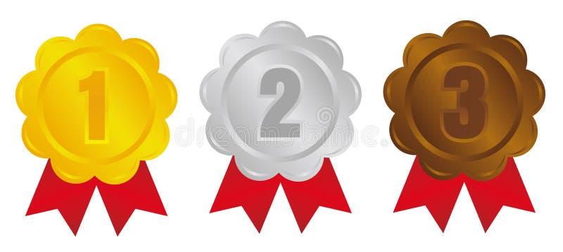 Σύνολο εικονιδίων μεταλλίων κατάταξης / 3 χρώματα / από την 1η θέση στην 3η θέση απεικόνιση αποθεμάτων