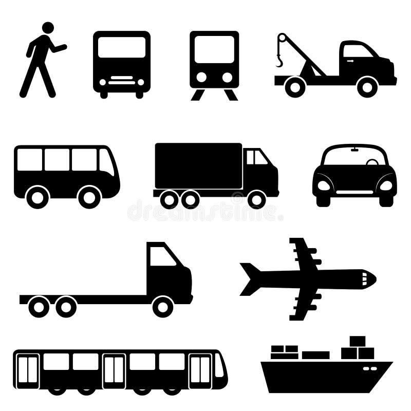 Σύνολο εικονιδίων μεταφορών διανυσματική απεικόνιση