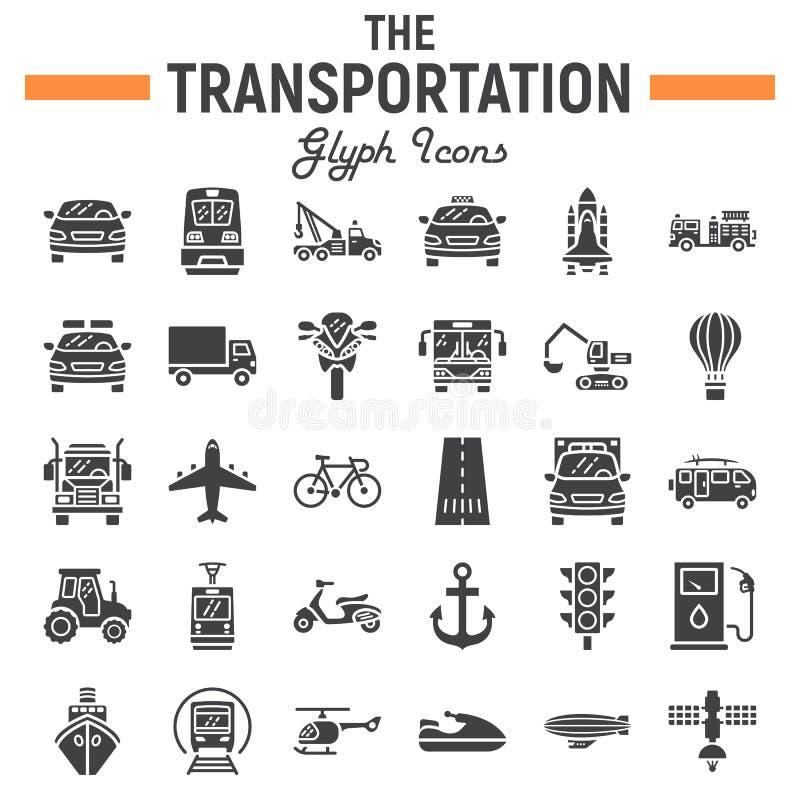 Σύνολο εικονιδίων μεταφορών glyph, σύμβολα μεταφορών διανυσματική απεικόνιση