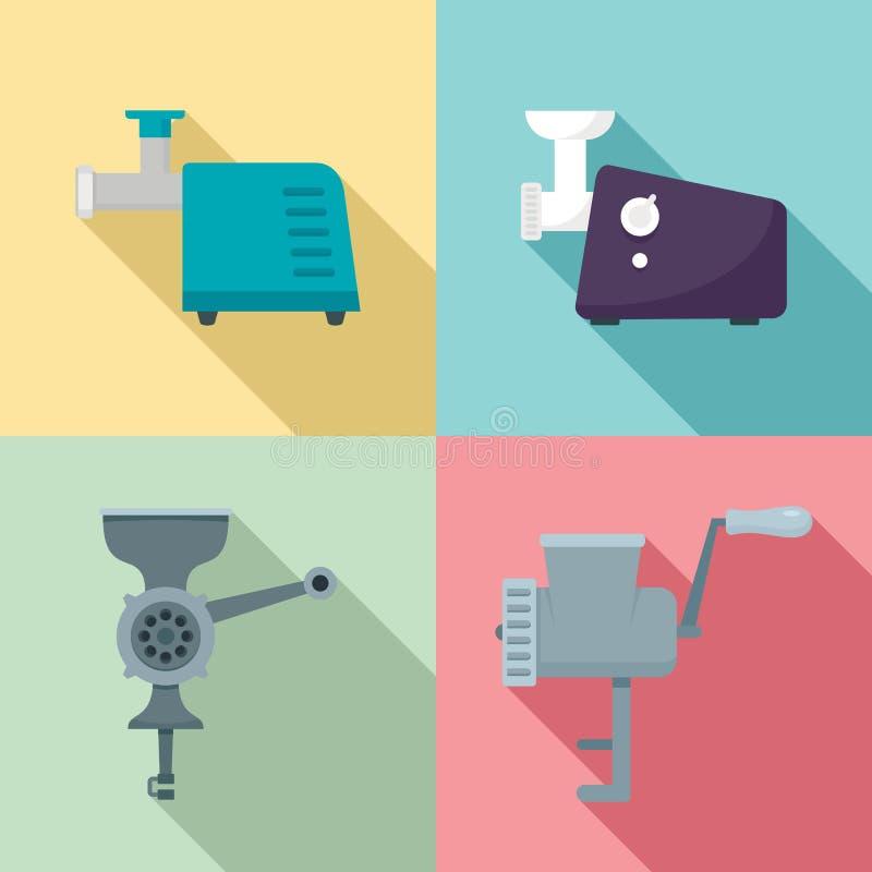 Σύνολο εικονιδίων μηχανή κοπής κιμά, επίπεδο ύφος απεικόνιση αποθεμάτων