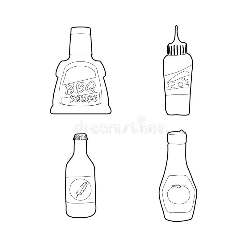 Σύνολο εικονιδίων μπουκαλιών σάλτσας, ύφος περιλήψεων ελεύθερη απεικόνιση δικαιώματος