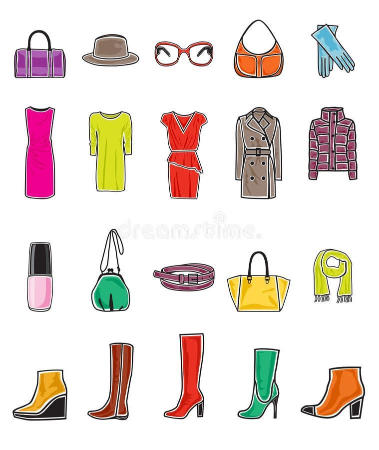 Σύνολο εικονιδίων μόδας διανυσματική απεικόνιση