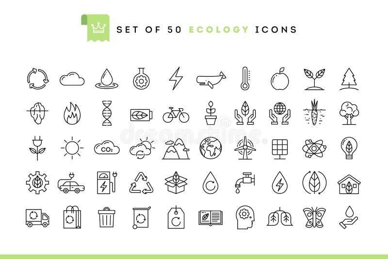 Σύνολο 50 εικονιδίων οικολογίας, λεπτό ύφος γραμμών ελεύθερη απεικόνιση δικαιώματος