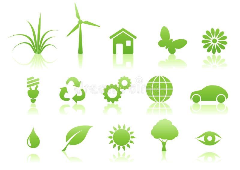 σύνολο εικονιδίων οικολογίας ελεύθερη απεικόνιση δικαιώματος