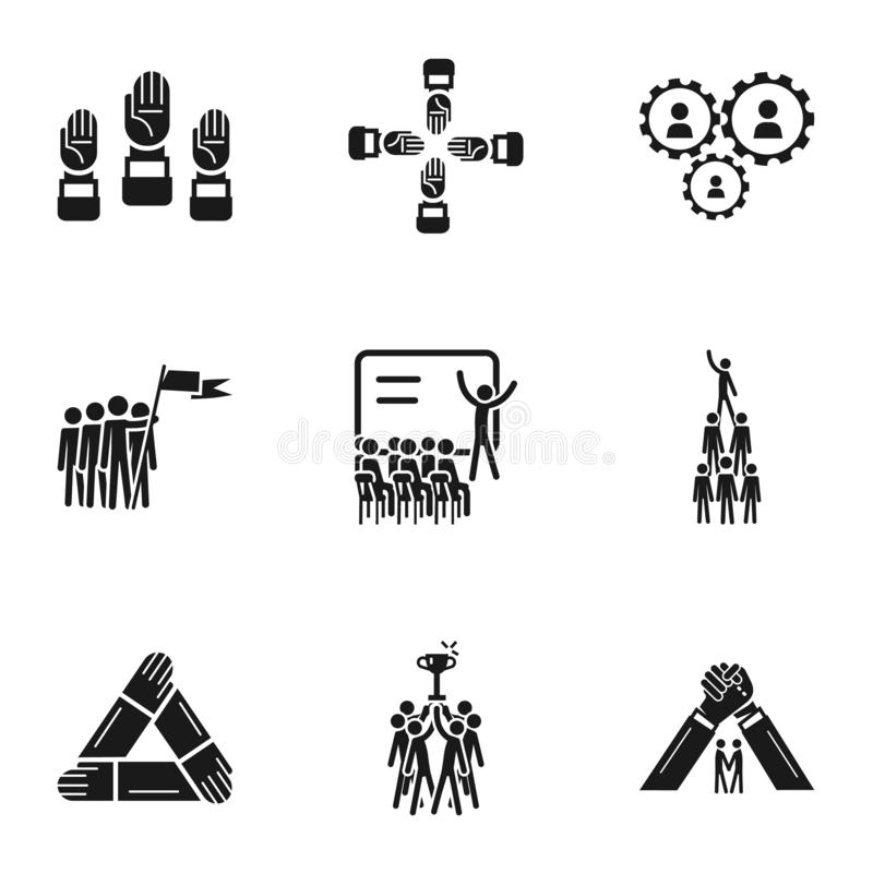 Σύνολο εικονιδίων ομαδικής εργασίας, απλό ύφος διανυσματική απεικόνιση