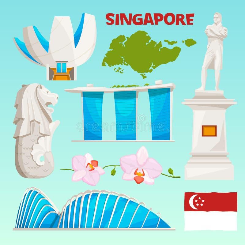 Σύνολο εικονιδίων ορόσημων Σινγκαπούρης Τα πολιτιστικά αντικείμενα κινούμενων σχεδίων απομονώνουν στο λευκό ελεύθερη απεικόνιση δικαιώματος