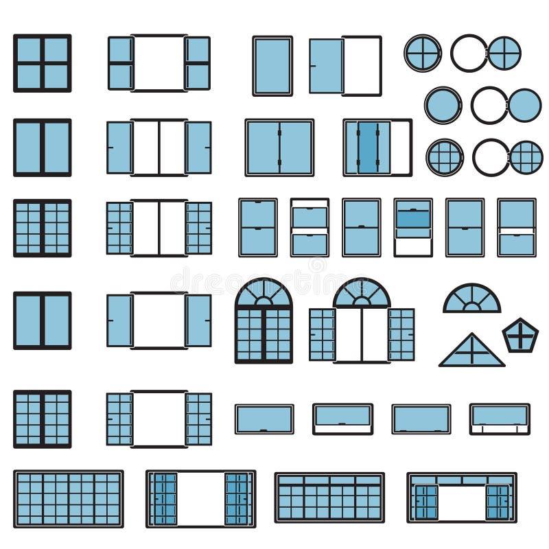 Σύνολο εικονιδίων παραθύρων Τύποι παραθύρων καθορισμένοι διάνυσμα ελεύθερη απεικόνιση δικαιώματος