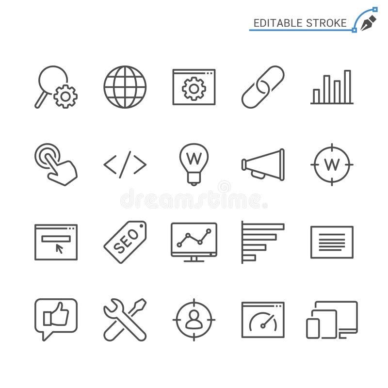 Σύνολο εικονιδίων περιλήψεων βελτιστοποίησης μηχανών αναζήτησης ελεύθερη απεικόνιση δικαιώματος
