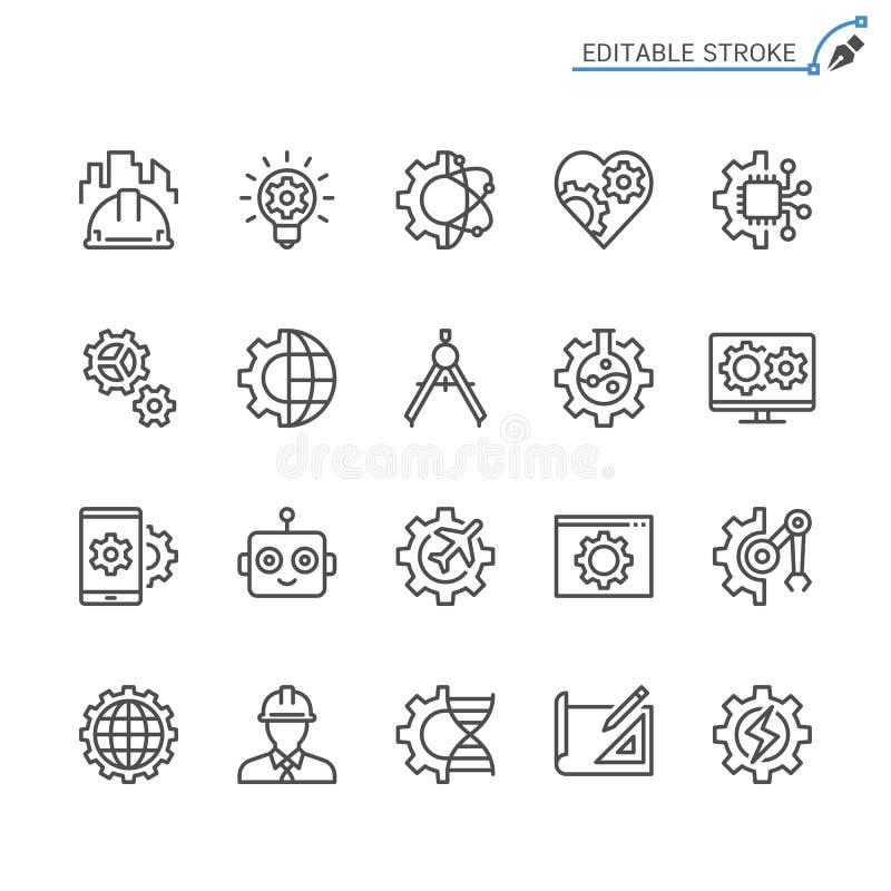 Σύνολο εικονιδίων περιλήψεων εφαρμοσμένης μηχανικής διανυσματική απεικόνιση