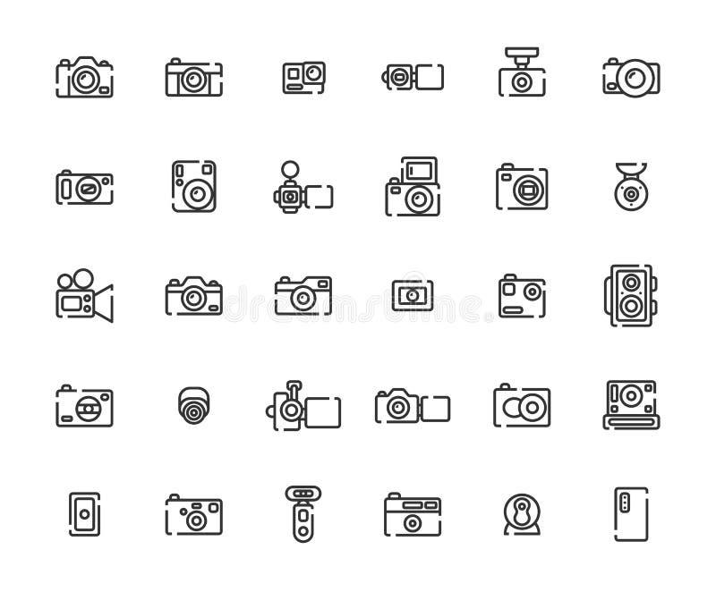 Σύνολο εικονιδίων περιλήψεων καμερών απεικόνιση αποθεμάτων