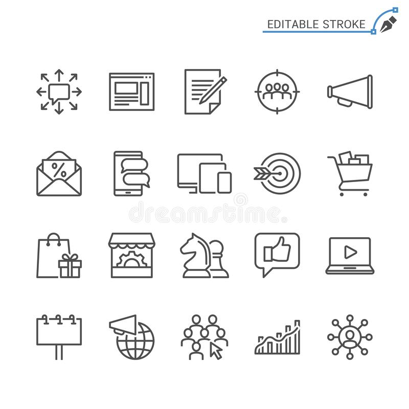 Σύνολο εικονιδίων περιλήψεων μάρκετινγκ απεικόνιση αποθεμάτων
