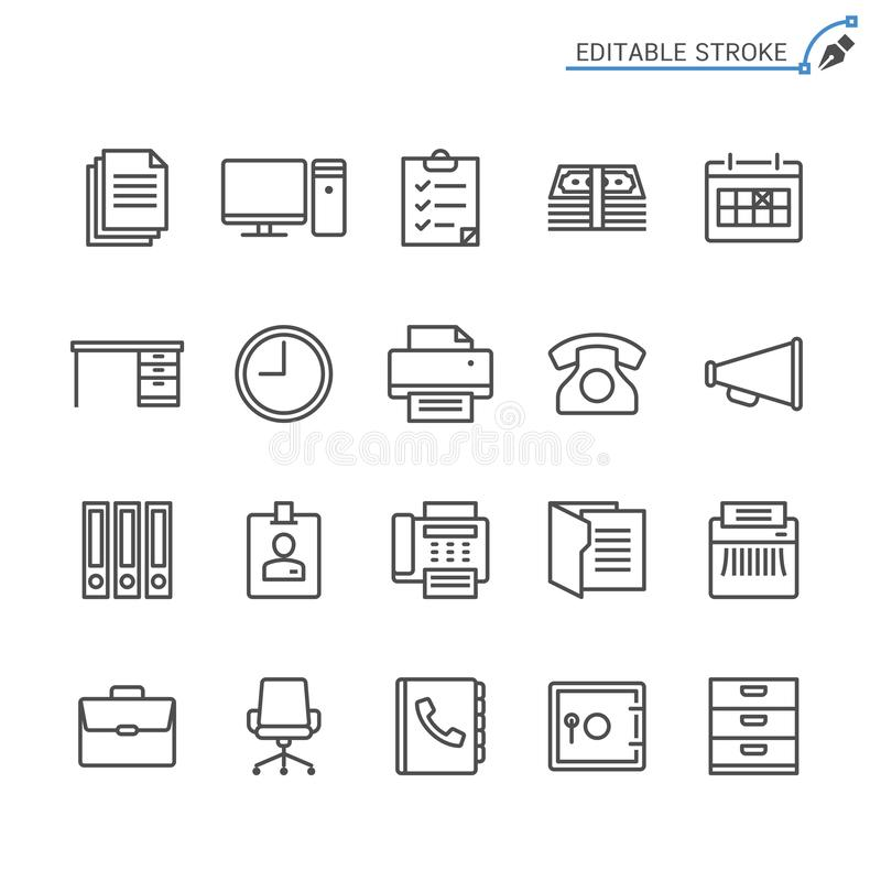 Σύνολο εικονιδίων περιλήψεων προμηθειών γραφείων ελεύθερη απεικόνιση δικαιώματος