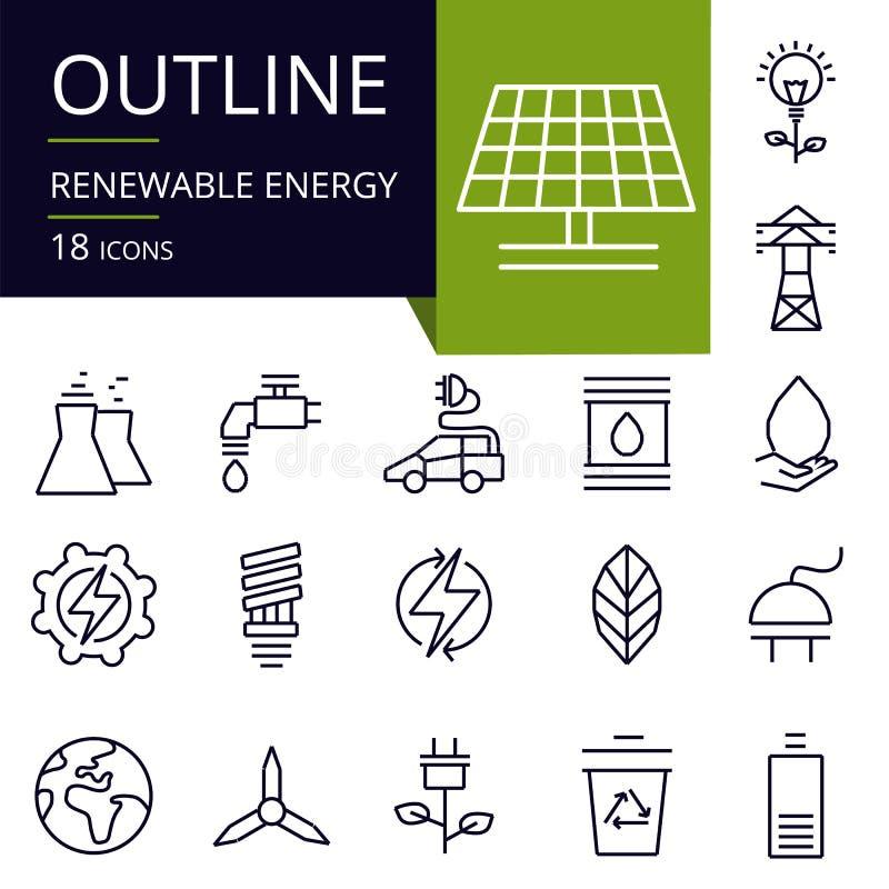 Σύνολο εικονιδίων περιλήψεων της ανανεώσιμης ενέργειας ελεύθερη απεικόνιση δικαιώματος