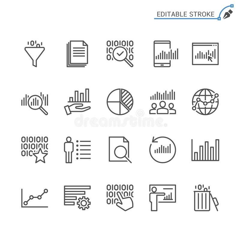 Σύνολο εικονιδίων περιλήψεων analytics στοιχείων απεικόνιση αποθεμάτων