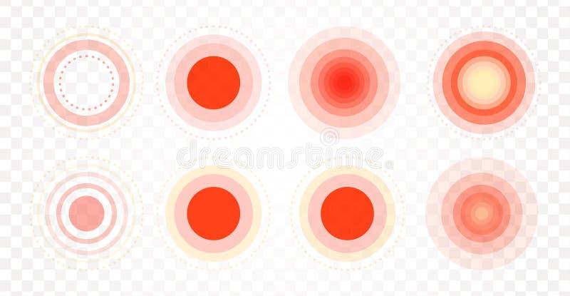 Σύνολο εικονιδίων περιοχής πόνου Ακτινωτοί κόκκινοι κύκλοι Επίπεδη κλίση στόχων Σημείο πόνου Ιατρική συλλογή συμβόλων για το φαρμ διανυσματική απεικόνιση