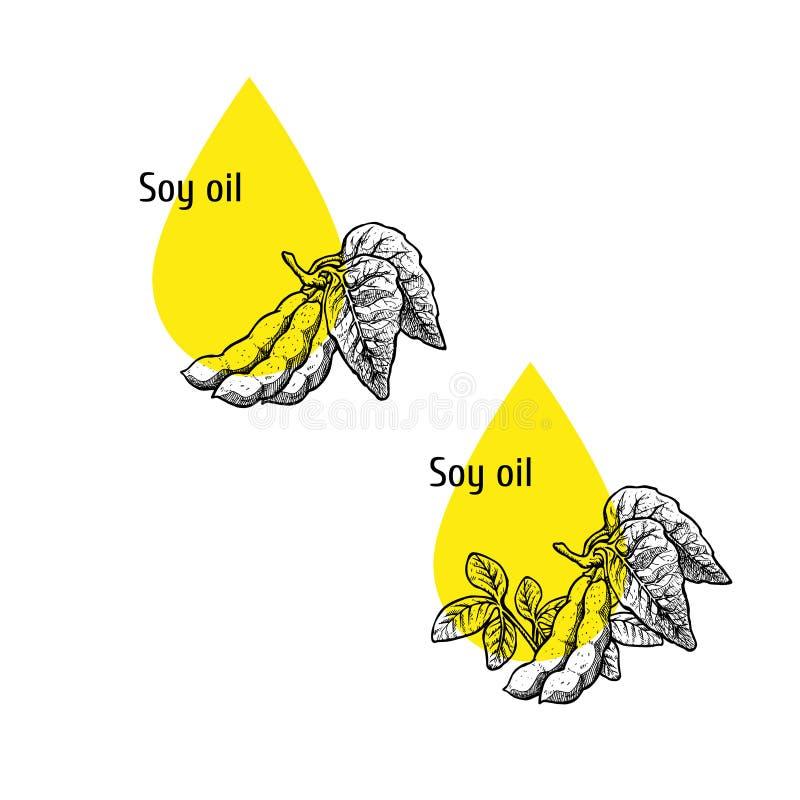 Σύνολο εικονιδίων πετρελαίου σόγιας Συρμένο χέρι σκίτσο Εκχύλισμα των εγκαταστάσεων r ελεύθερη απεικόνιση δικαιώματος
