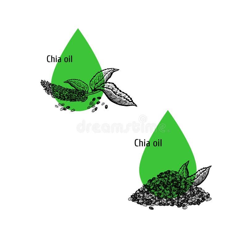 Σύνολο εικονιδίων πετρελαίου Chia Συρμένο χέρι σκίτσο Εκχύλισμα των εγκαταστάσεων r απεικόνιση αποθεμάτων