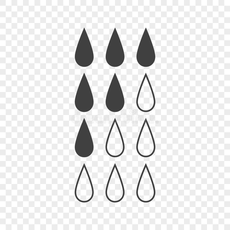 Σύνολο εικονιδίων που παρουσιάζουν το επίπεδο υγρού στη δεξαμενή με την πλήρωση των σταγονίδιων νερού Διανυσματική απεικόνιση σε  ελεύθερη απεικόνιση δικαιώματος