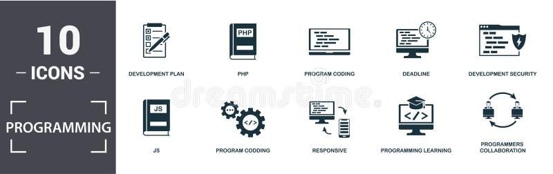 Σύνολο εικονιδίων προγραμματιστή Να περιέχουν πλήρες επίπεδο σχέδιο ανάπτυξης, εκμάθηση προγραμματισμού, js, κωδικοποίηση φορητού ελεύθερη απεικόνιση δικαιώματος