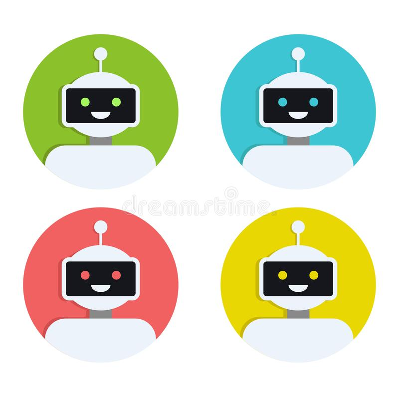 Σύνολο εικονιδίων ρομπότ Σχέδιο σημαδιών BOT Σύμβολο Chatbot, πρότυπο λογότυπων Σύγχρονη επίπεδη απεικόνιση χαρακτήρα κινουμένων  ελεύθερη απεικόνιση δικαιώματος