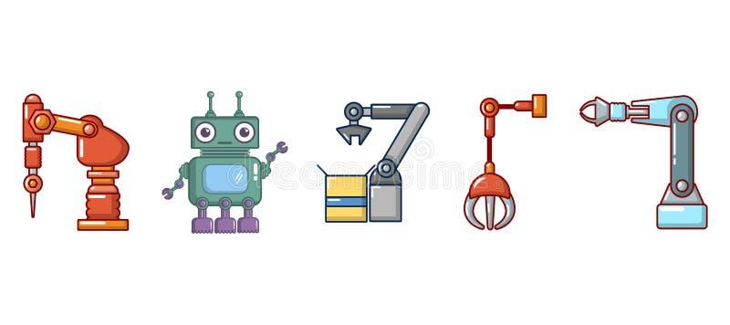 Σύνολο εικονιδίων ρομπότ, ύφος κινούμενων σχεδίων απεικόνιση αποθεμάτων