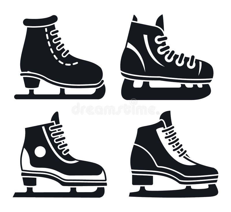 Σύνολο εικονιδίων σαλαχιών πάγου μποτών, απλό ύφος ελεύθερη απεικόνιση δικαιώματος