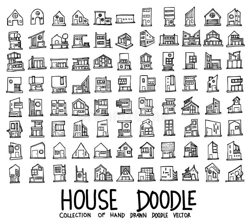 Σύνολο εικονιδίων σπιτιών που σύρουν συρμένη doodle γραμμή διανυσματικό eps10 σκίτσων απεικόνισης τη χέρι απεικόνιση αποθεμάτων