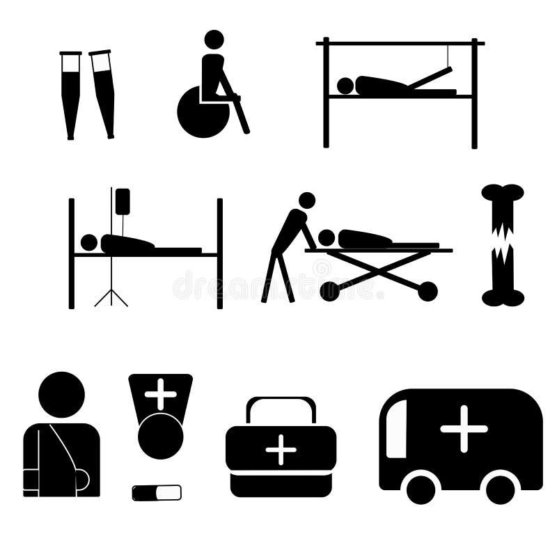 Σύνολο εικονιδίων στο ιατρικό θέμα Traumatology r απεικόνιση αποθεμάτων