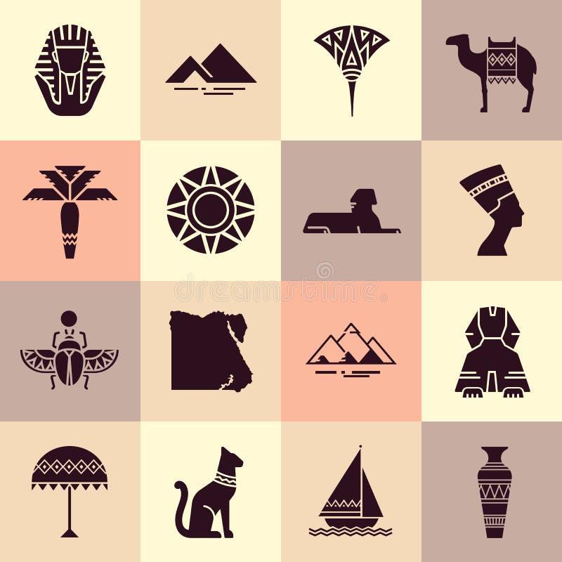 Σύνολο εικονιδίων στο ύφος του επίπεδου σχεδίου στο θέμα της Αιγύπτου ελεύθερη απεικόνιση δικαιώματος