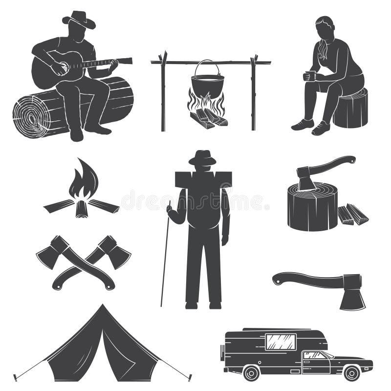 Σύνολο εικονιδίων στρατοπέδευσης που απομονώνονται στο άσπρο υπόβαθρο απεικόνιση αποθεμάτων