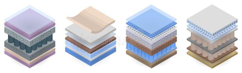 Σύνολο εικονιδίων στρώματος στρωμάτων, isometric ύφος διανυσματική απεικόνιση