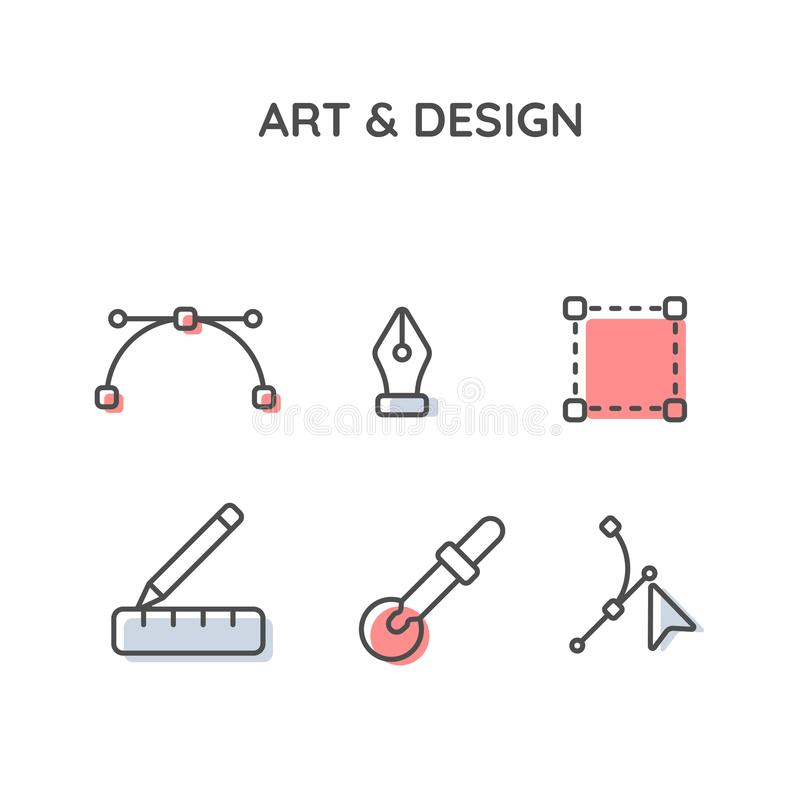 Σύνολο εικονιδίων τέχνης και σχεδίου στοκ εικόνες