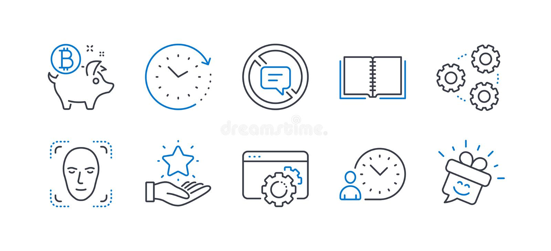 Σύνολο εικονιδίων τεχνολογίας, όπως η στάση που μιλά, εργαλεία, ανίχνευση προσώπου r απεικόνιση αποθεμάτων