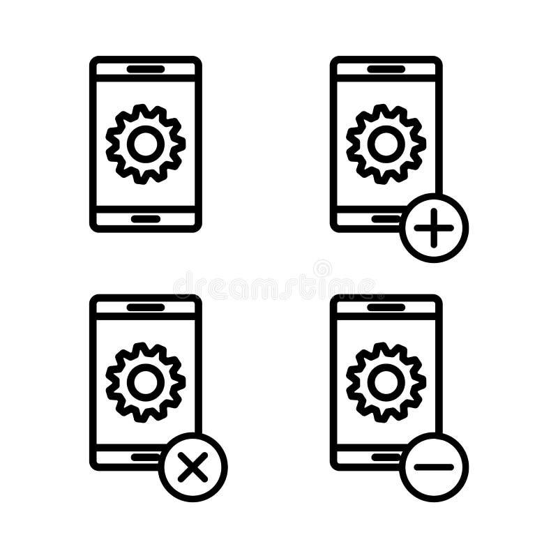 σύνολο εικονιδίων τοποθετήσεων smartphone Στοιχείο των τηλεφωνικών εικονιδίων για την κινητούς έννοια και τον Ιστό apps Λεπτά εικ απεικόνιση αποθεμάτων