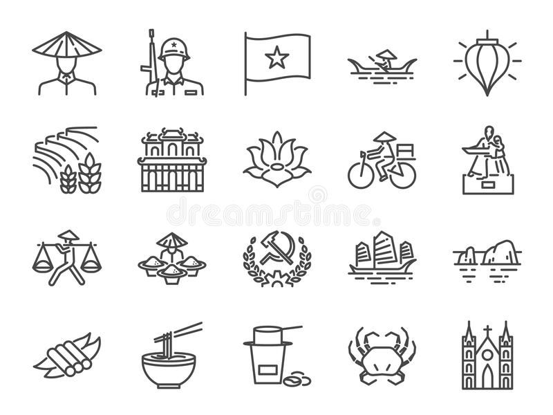 Σύνολο εικονιδίων του Βιετνάμ Συμπεριλαμβανόμενα εικονίδια όπως βιετναμέζικα, τρόφιμα οδών, νουντλς Pho, κομμουνιστής, chi Ho min ελεύθερη απεικόνιση δικαιώματος