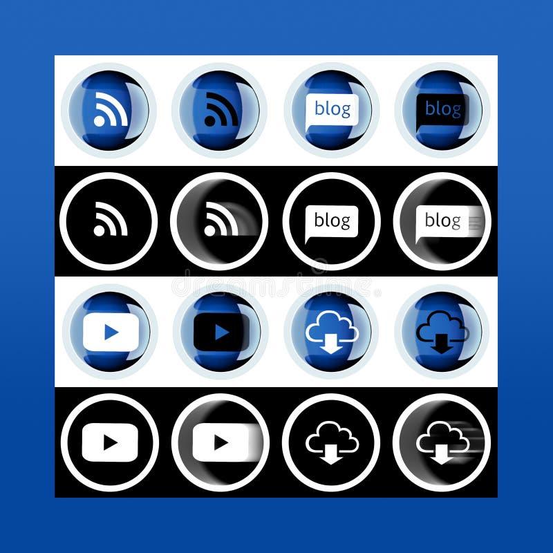 Σύνολο εικονιδίων: το FI WI, βίντεο, μεταφορτώνει, blog Σύνολο τρισδιάστατου κουμπιού και διανυσματική απεικόνιση
