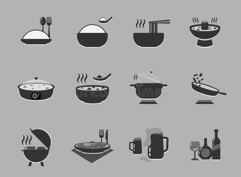 Σύνολο εικονιδίων τροφίμων και ποτών Resturant που χρησιμοποιεί ως ιστοχώρος και εφαρμογή ελεύθερη απεικόνιση δικαιώματος