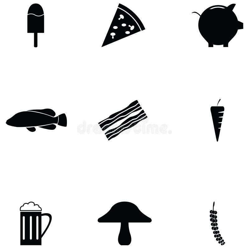 Σύνολο εικονιδίων τροφίμων διανυσματική απεικόνιση