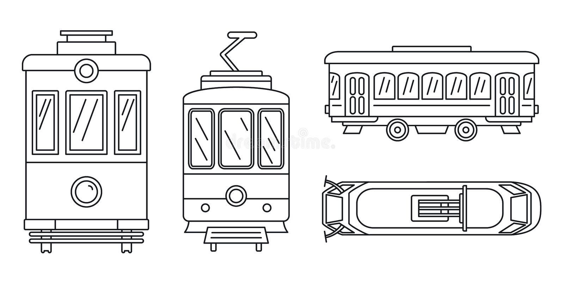 Σύνολο εικονιδίων τροχιοδρομικών γραμμών, ύφος περιλήψεων απεικόνιση αποθεμάτων