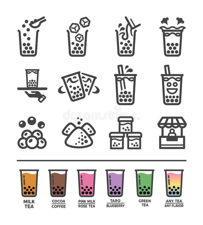 Σύνολο εικονιδίων τσαγιού γάλακτος φυσαλίδων ελεύθερη απεικόνιση δικαιώματος