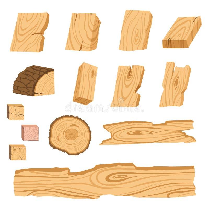 Σύνολο εικονιδίων των κατασκευασμένων ξύλινων πινάκων, των φραγμών, και των μερών ενός δέντρου επίσης corel σύρετε το διάνυσμα απ απεικόνιση αποθεμάτων