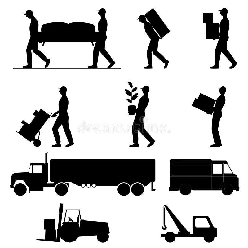 Σύνολο εικονιδίων των μετακινούμενων ατόμων και των φορτηγών, μαύρες σκιαγραφίες στο άσπρο υπόβαθρο διανυσματική απεικόνιση