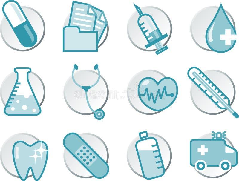 Σύνολο εικονιδίων υγειονομικής περίθαλψης ελεύθερη απεικόνιση δικαιώματος